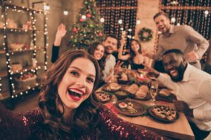 group of people at a holiday gathering